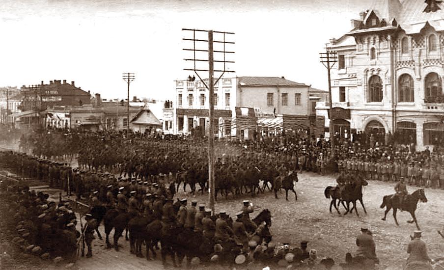 г. Хабаровск. Парад японских интервентов, 1918 год.
